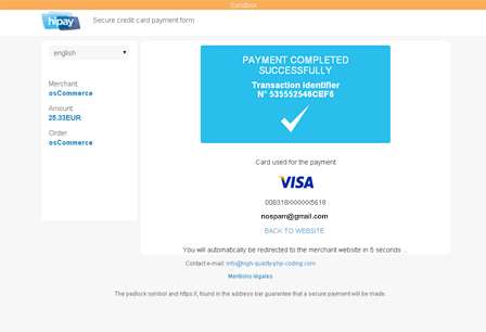 HiPay Payment Module for osCommerce - Payment Successful